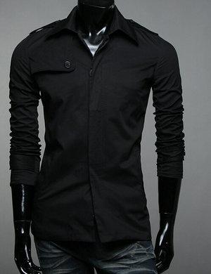 New 2014 Fall Winter Men Windbreaker Jacket Fashion Casual Pure Color Men Windbreaker Free Shipping Promotion Khaki / Black(China (Mainland))