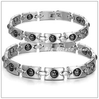 23cm&20cm New Hot Sale Romantic Lovers Bracelets 316L Stainless Steel Energy Magnetic Stone Bracelets Bangles For Women/Men