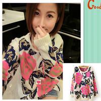 2014 Fashion New Fashion Winter Warm Rose Flower Pattern Thinken Loose Women Knitting Sweater Rose Jacquard Pullover AY852057
