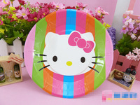 New 64pcs Hello Kitty Paper Tableware Set,Children Birthday Party Cartoon Decoration,Paper Plates Cups,Tablecloth Kitchen Set
