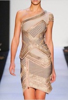 2014 new arrival gold and nude one shoulder two piece  luxury bodycon hl bandage women party evening dresses