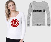 Free Shipping Fashion Element T Shirts Women Skateboard Streetwear Cotton Woman Shirt Full Sleeve O Neck Casual Female Tees