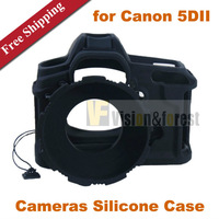 SLR Cameras Silicone Case Camera Protective Cover Camera Skin Soft Protective Shell for Canon 5D2 5DII 5D MarkII With Lens Hood