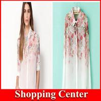 2014 Fashion Women Chiffon Blouse Flower Print Lapel Casual Chiffon Long Sleeved Shirt Women Tops dropshipping