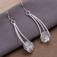 E164 Wholesale ! Wholesale 925 silver earrings, 925 silver fashion jewelry, Zircon Earrings
