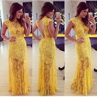 yellow lace prom Dress Mulheres moda vestido de baile renda amarela elegante vestidos de festa Vestido Longo Sexy maxi dress