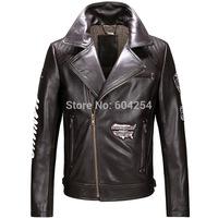 2014 free shipping Air Force jacket oblique zipper machine wagon coats sheep skin men's leather jacket