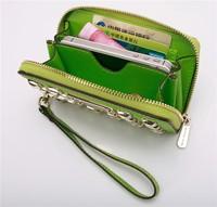 10pcs Hot  Genuine Leather original Michaeled Zipper bag Cross pattern wallet case for 5/5G/5S 4/4S wih retail box-p25