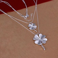 Hot Sale!!Free Shipping 925 Silver Necklace,Fashion Sterling Silver Jewelry Snake Double Clover Necklace SMTN218