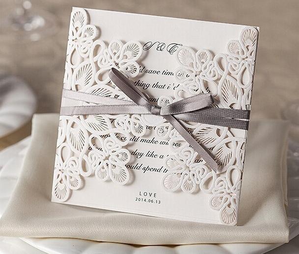 50pcs/lot personalizado e impressão laser cartão de convite de casamento envelope e vedação livre de festa do laço branco cartão de convites wm207(China (Mainland))