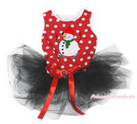XMAS Snowman Print Red White Dots Sleeveless Black Lace, Cats and Dogs Pet Article Dress Pet Product MADC0003