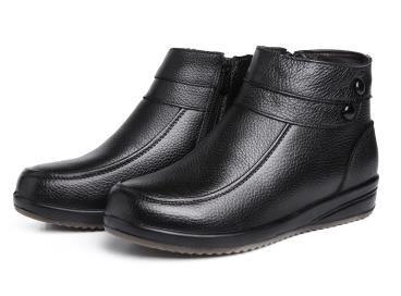 inverno para se aquecer couro botas curtas em idosos sapatos femininos não- skid fundo macio(China (Mainland))