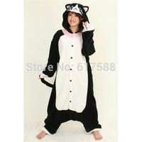 Anime Animals Onesie Black Cat For Halloween Christmas Dress Party Women Men Girl Boy Cosplay Costumes Pajamas Romper
