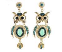 Wholesale Jewelry Fashion Owl Rhinestone Drop Earrings Designer Women Pendientes Brincos Bijoux 7474