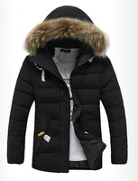 2014 high quality park men of winter men coat hooded park fur down-jacket casual thick winter jacket for men snow jacket 229B