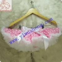 Retail light pink baby girl pettiskirt with white ruffle,girl  polka dots tutu skirt