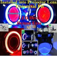 LED Angel Devil Eyes Installed to Projector Len,Bi Xenon Devil Eyes Car Headlight PIONEERED Retrofit Universal LED Fog Light Kit