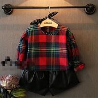 2T-8T children baby girls preppy shirts girl kids lattice blouses 2014 Autumn casual shirt fashion long/full sleeve shirts