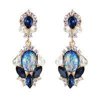Wholesale Jewelry Fashion Luxe Rhinestone Waterdrop Earrings Statement Women Gems Brincos Bridal Wedding 23G 8574