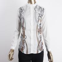 Brand New Fashion Women Vintage Chain Print Shirts With Epaulet Stand Collar Long Sleeve Chiffon Slim White Blouses Tops