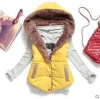 2014 spring new Korean wild casual cotton hooded coat coral velvet vest waistcoat female tide