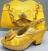 matching shoe and bag set  EVS281 yellow 4 inch size 38 to 42 for retail and wholesale