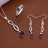 S584 925 sterling silver jewelry set, fashion jewelry set necklace ring earring /axdajoka gnhapeoa