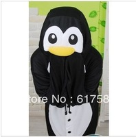 Free Shipping Black Penguin Cute High Quality One Piece Fleece Winter Animal Adult Footed Pajamas Onesie Kigu For Boys
