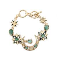 Vintage Cameo Opal Moon Star Sun Bracelet for Woman Gold Bracelet Chain Accessories Jewelry Salomon bracelets & bangles CB054