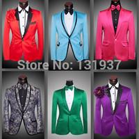2014 New Good quality Men suits slim ( Jacket + Pants + bow tie ) sequins suit men groom wedding dress S-4XL big size