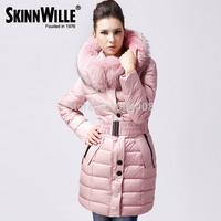 Free Shipping 2014 Hot Sell Fashion Medium-Long Down Jacket Female Fur Collar Winter Thickening For Women