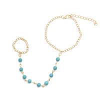 Fashion Turquoise Beads Bib Chain Ring Bracelet for Women 2014 bracelets & bangles CB053 coupon