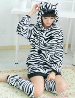 Free Shipping Cartoon cute jumpsuit nightdress Zebra jumpsuit Hooded Nightgown