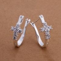 Hot Sale!!Free Shipping 925 Silver Earring,Fashion Sterling Silver Jewelry Cute Cross Earrings SMTE311