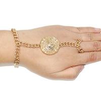 Vintage Cameo Medusa Gold Bracelet for Women bracelets & bangles with Ring Aliexpress Fashion Jewelry Pulserias Feminias CB052