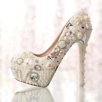 Love pearl rhinestone wedding shoes bridal crystal single high-heeled women's shoes