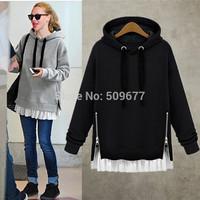 2014 loose plus size clothing thickening medium-long plus velvet long-sleeve with a hood pullover sweatshirt hoodie female