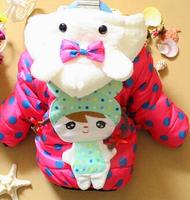 Winter children cotton-padded jacket dot plus velvet girl child wadded jacket winter outwear girl coat free shipping