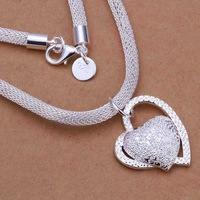 Christmas Gift!!Wholesale 925 Silver Necklaces & Pendants 925 Silver Fashion Jewelry,Inlaid Stone Heart Necklace SMTN270