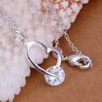 P214 Free Shipping 925 sterling silver Necklace, 925 silver fashion jewelry Single stone inlay crooked heart /bbtajtaa enjaneqa