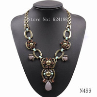 2014 new fashion design gold chain crystal resin pendant bib vintage necklace for women cheap chunky statement jewelry