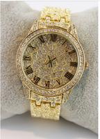 2014 full steel women dress watches luxury brand lady quartz gold wristwatches  women rhinestone watches diamond bracelet