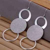 Hot Sale!!Free Shipping 925 Silver Earring,Fashion Sterling Silver Jewelry Dual Sand O Earrings SMTE012