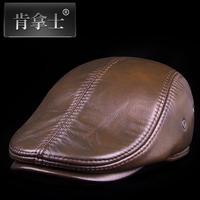 Genuine leather hat male quinquagenarian hat genuine leather casual forward cap winter cap beret