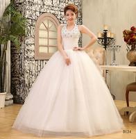 Vintage Wedding Dresses V Neck Halter Bridal gown Crystal Tank Floor Length Ball Gown Vestido de noiva X043