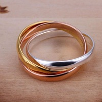 Free Shipping 925 Sterling Silver Ring Fine Fashion Three Color Circle Ring Women&Men Gift Silver Jewelry Finger Rings SMTR058