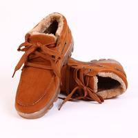 Men's Boots Mens Winter Fashion Snow Boots Men's Thick Fur Winter Shoes Lace Up Plush Shoes Camel Brown