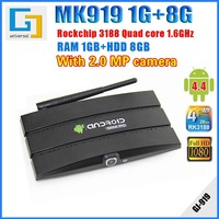 MK919S Android TV Box 1G RAM 8G ROM Quad core RK3188T Cortex-A9 Android 4.4 with 2.0MP Camera Remote control Mini PC