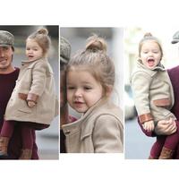 Carme children's clothing baby girl  2014 fashion female winter child fashion woolen outerwear zipper baby coat size 80-120cm