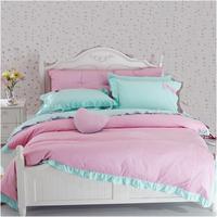 Quality cotton 100% slanting stripe ruffle princess bed skirt 100% cotton four piece set girl bedding pink plaid